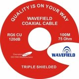 Wavefield RG6 Triple Shield CU White 100m Coax 64-0.12AL_