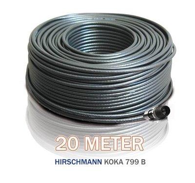 Hirschmann Koka 799 zwart + 1x EX-6 Voorgemonteerd 20 Meter